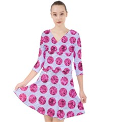 Circles1 White Marble & Pink Marble (r) Quarter Sleeve Front Wrap Dress by trendistuff