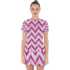 Chevron9 White Marble & Pink Marble (r) Drop Hem Mini Chiffon Dress by trendistuff