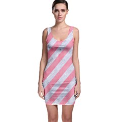 Stripes3 White Marble & Pink Watercolor (r) Bodycon Dress