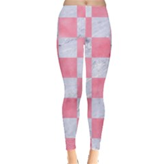 Square1 White Marble & Pink Watercolor Leggings  by trendistuff
