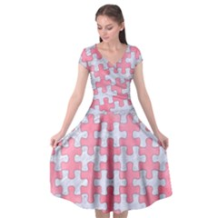 Puzzle1 White Marble & Pink Watercolor Cap Sleeve Wrap Front Dress by trendistuff