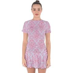 Damask1 White Marble & Pink Watercolor (r) Drop Hem Mini Chiffon Dress by trendistuff