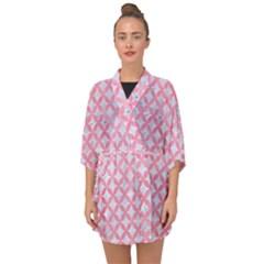 Circles3 White Marble & Pink Watercolor (r) Half Sleeve Chiffon Kimono by trendistuff