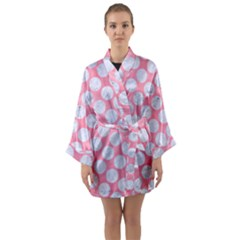 Circles2 White Marble & Pink Watercolor Long Sleeve Kimono Robe
