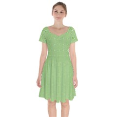 Mod Twist Stripes Green And White Short Sleeve Bardot Dress by BrightVibesDesign