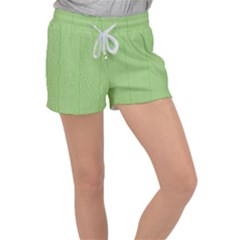 Mod Twist Stripes Green And White Women s Velour Lounge Shorts by BrightVibesDesign