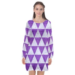 Triangle3 White Marble & Purple Brushed Metal Long Sleeve Chiffon Shift Dress  by trendistuff