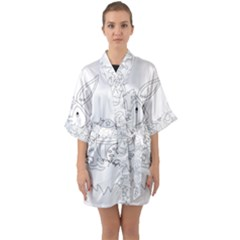 Coloring Picture Easter Easter Bunny Quarter Sleeve Kimono Robe by Sapixe