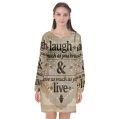 Motivational Calligraphy Grunge Long Sleeve Chiffon Shift Dress  by Sapixe
