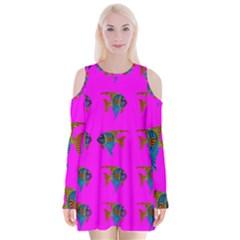 Opposite Way Fish Swimming Velvet Long Sleeve Shoulder Cutout Dress by Sapixe