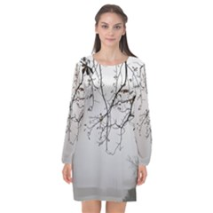 Tree Nature Landscape Long Sleeve Chiffon Shift Dress  by Sapixe