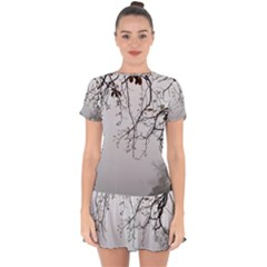 Tree Nature Landscape Drop Hem Mini Chiffon Dress by Sapixe