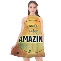Beautiful Day Cheerful Munter Halter Neckline Chiffon Dress  by Sapixe