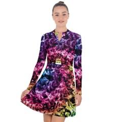 Smoke Colors Soul Black Blue Long Sleeve Panel Dress by Sapixe