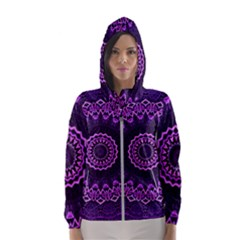 Mandala Purple Mandalas Balance Hooded Windbreaker (women) by Sapixe
