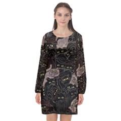 Cats On Black Seamless Pattern Art Print Clothing Long Sleeve Chiffon Shift Dress  by bloomingvinedesign