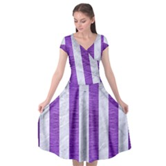 Stripes1 White Marble & Purple Brushed Metal Cap Sleeve Wrap Front Dress by trendistuff