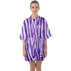 Skin4 White Marble & Purple Brushed Metal (r) Quarter Sleeve Kimono Robe by trendistuff