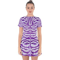 Skin2 White Marble & Purple Brushed Metal (r) Drop Hem Mini Chiffon Dress by trendistuff