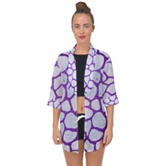 Skin1 White Marble & Purple Brushed Metal Open Front Chiffon Kimono by trendistuff