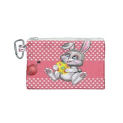 Illustration Rabbit Easter Canvas Cosmetic Bag (small) by Sapixe
