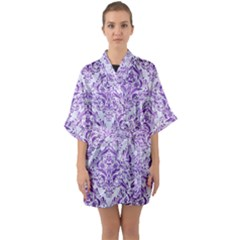 Damask1 White Marble & Purple Brushed Metal (r) Quarter Sleeve Kimono Robe by trendistuff