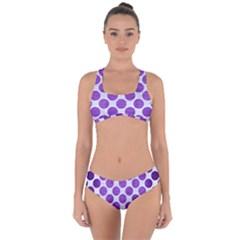 Circles2 White Marble & Purple Brushed Metal (r) Criss Cross Bikini Set by trendistuff