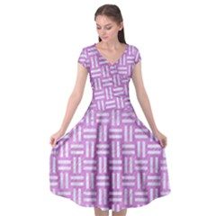Woven1 White Marble & Purple Colored Pencil Cap Sleeve Wrap Front Dress by trendistuff