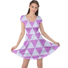 Triangle3 White Marble & Purple Colored Pencil Cap Sleeve Dress by trendistuff