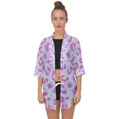 Skin5 White Marble & Purple Colored Pencil Open Front Chiffon Kimono by trendistuff