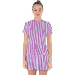 Skin4 White Marble & Purple Colored Pencil (r) Drop Hem Mini Chiffon Dress by trendistuff