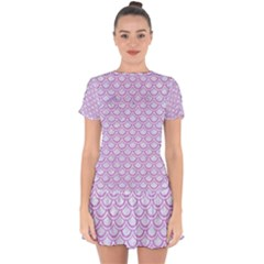 Scales2 White Marble & Purple Colored Pencil (r) Drop Hem Mini Chiffon Dress by trendistuff