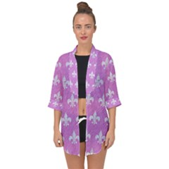 Royal1 White Marble & Purple Colored Pencil (r) Open Front Chiffon Kimono by trendistuff