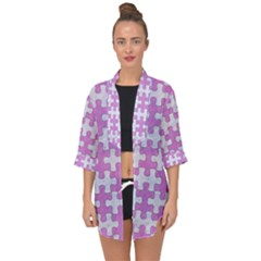 Puzzle1 White Marble & Purple Colored Pencil Open Front Chiffon Kimono by trendistuff