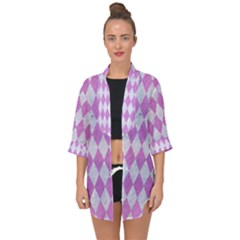 Diamond1 White Marble & Purple Colored Pencil Open Front Chiffon Kimono by trendistuff