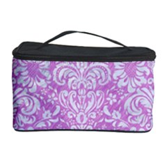 Damask2 White Marble & Purple Colored Pencil Cosmetic Storage Case by trendistuff