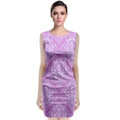 Damask1 White Marble & Purple Colored Pencil Classic Sleeveless Midi Dress by trendistuff