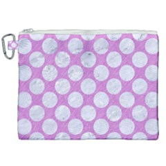 Circles2 White Marble & Purple Colored Pencil Canvas Cosmetic Bag (xxl) by trendistuff
