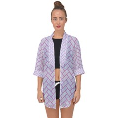 Brick2 White Marble & Purple Colored Pencil (r) Open Front Chiffon Kimono by trendistuff