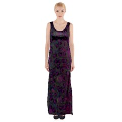 Peacock Feather Maxi Thigh Split Dress by greenthanet