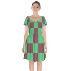 Background Checkers Squares Tile Short Sleeve Bardot Dress by Sapixe