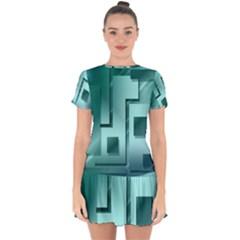 Green Figures Rectangles Squares Mirror Drop Hem Mini Chiffon Dress by Sapixe