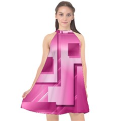Pink Figures Rectangles Squares Mirror Halter Neckline Chiffon Dress  by Sapixe