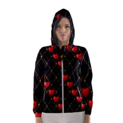 Background Texture Texture Hearts Hooded Windbreaker (women) by Sapixe