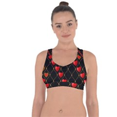 Background Texture Texture Hearts Cross String Back Sports Bra by Sapixe