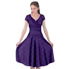 Dark Tech Fruit Pattern Cap Sleeve Wrap Front Dress by jumpercat