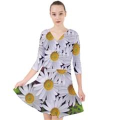 Flowers Flower Background Design Quarter Sleeve Front Wrap Dress