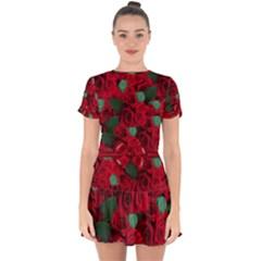 Floral Flower Pattern Art Roses Drop Hem Mini Chiffon Dress by Sapixe