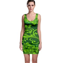 Background Texture Green Leaves Bodycon Dress