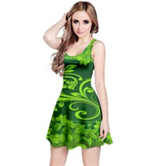 Background Texture Green Leaves Reversible Sleeveless Dress by Sapixe
